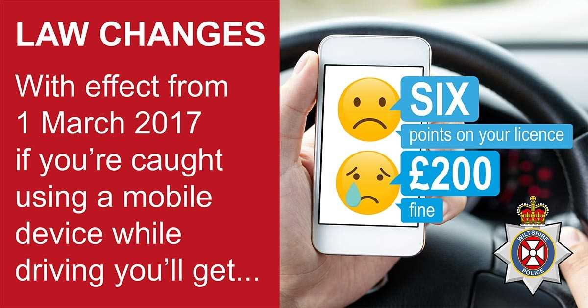 Six point & £200 fine if caught on phone whilst driving